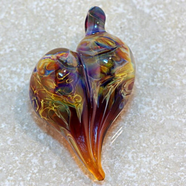 Borosilicate glass Amber Heart