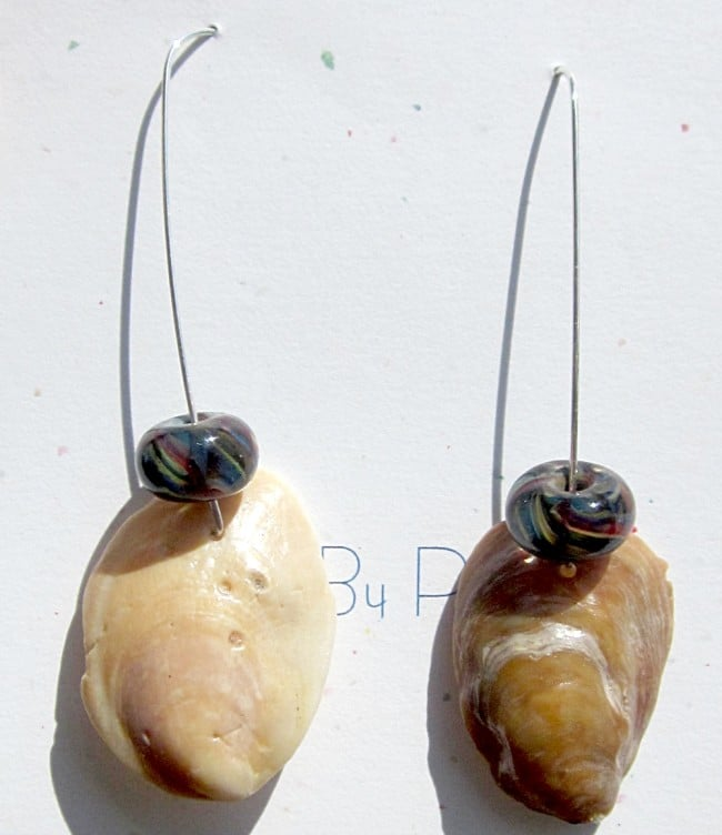 Lampwork bead & shell earrings by Polly Becton