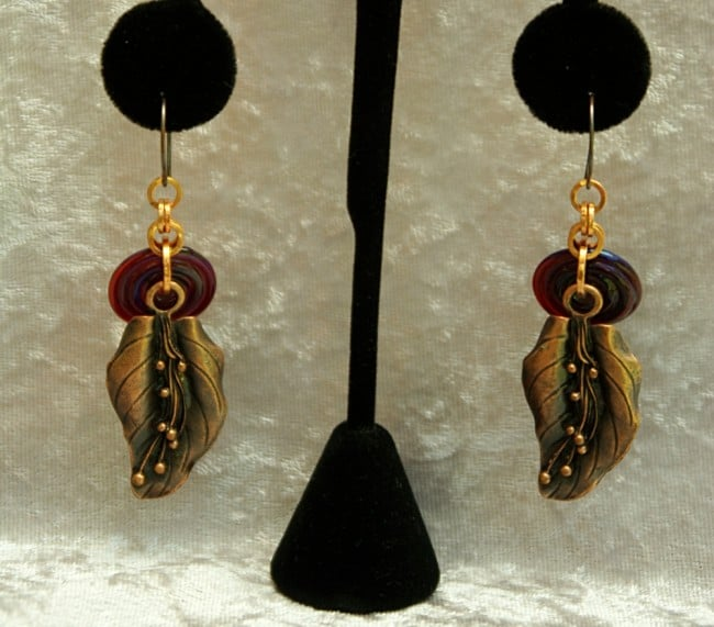 Leaf & lampwork bead earrings