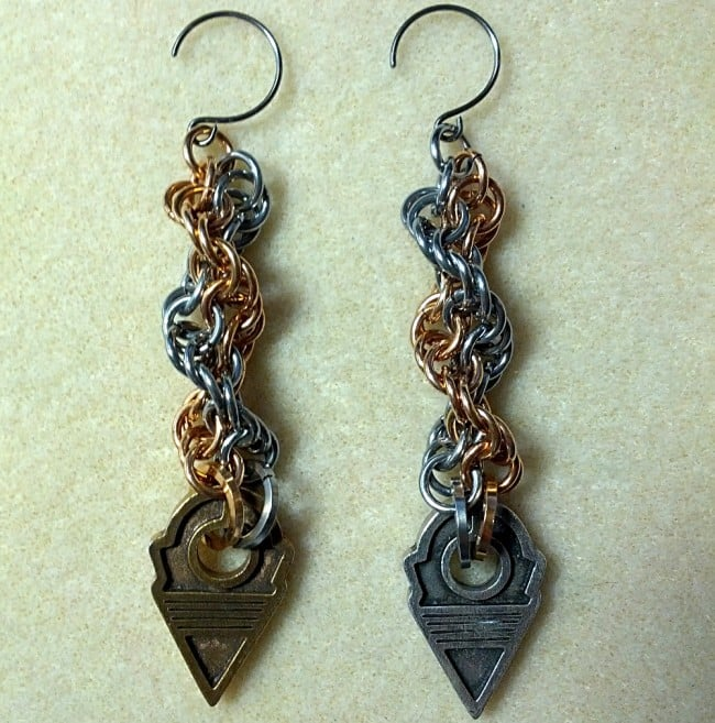 Chainmaille earrings; talhakimt cast by Laura Zakroff