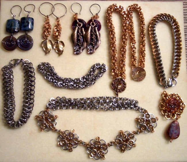 Chainmaille & earrings made on Tybee Island trip, 2012