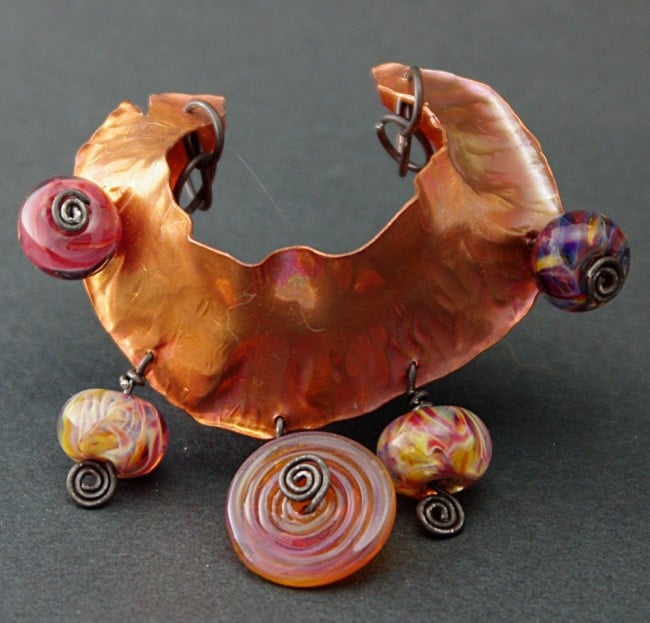 Nautilus foldformed pendant with lampworked beads